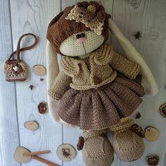 Кофейная зайка   _________________________________________(Автор оригинальной идеи Бэла Макаева) Crochet Hippo, Crochet Bunny Pattern, Crochet Toys Patterns, Stuffed Toys Patterns, Knitted Dolls, Crochet Dolls, Amigurumi Doll Pattern, Rabbit Crafts, Knitted Animals