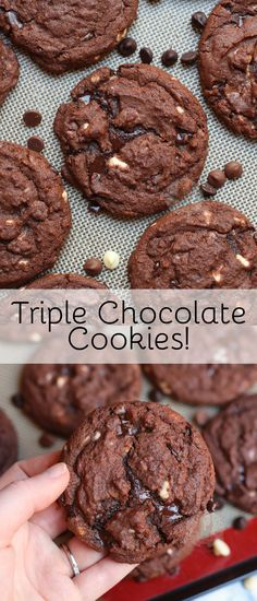 Gooey, Crunchie, Soft and Moreish Triple Chocolate Chip Cookies that are perfect for any Cookie Lover! Gooey, Crunchie, Soft and Moreish Triple Chocolate Chip Cookies that are perfect for any Cookie Lover! Triple Chocolate Chip Cookies, Chocolate Cookie Recipes, Homemade Chocolate, Chocolate Chocolate, Cake Mix Cookies, Sugar Cookies Recipe, Cookies Et Biscuits, Homemade Sugar Cookies, Cupcakes