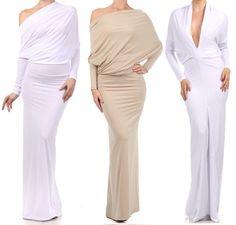 MULTI WAY Reversible PLUNGING Convertible MAXI DRESS Off One Shoulder Halter #tamarstreasures #Maxi #Cocktail