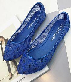 34c15f64855 Blue Wedding Shoes  Lace Bridal Shoes Champagne Shoes Royalblue Lace Flats  Shoes
