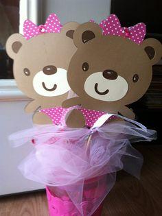 Teddy Bear Centerpieces 6 pc Girl Teddy Bear Bear Birthday