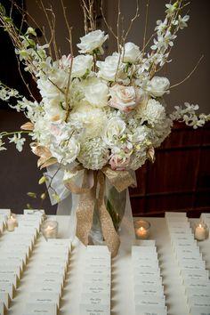 Neutral + gold winter wedding - elegant pastel pink + cream flower arrangement with sparkly gold ribbon {NeriPhoto}
