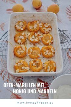 Ofen-Marillen mit Honig und Mandeln Healthy Recipes, Healthy Food, Shrimp, Goodies, Meat, Desserts, Food Porn, Party, Fruit And Veg