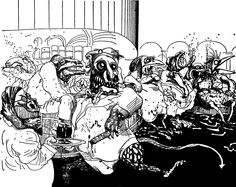 """Ralph Steadman's 'The Lizard Lounge' (1971). """"Understanding the human condition allows us to clearly see and understand the underlying method in all the madness surrounding current human life as it descends with increasing speed into deeper and deeper levels of agonising despair and alienation."""""""
