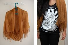 DIY cardigan out of a fringe scarf! All you need to do is know how to sew a straight line :)