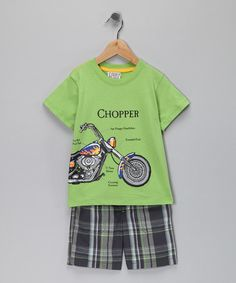 Take a look at this Lime Green Chopper Tee & Shorts - Infant, Toddler & Boys   by S.P.UDZ on #zulily today!