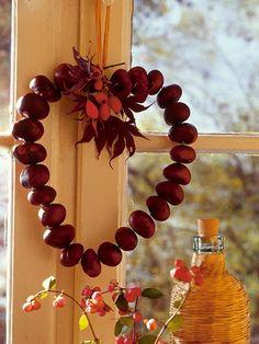 Heart  made from chestnuts #  Kastanien # dekorieren