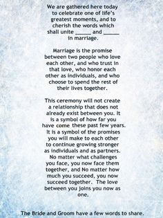 non religious short and sweet wedding ceremony script secular wedding ceremonies pinterest #WeddingCeremony #VowsNonTraditional