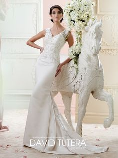 David Tutera for Mon Cheri style 215272 - Fantine is an elegant mermaid wedding dress with keyhole back from the Fall 2015 Collection. Click for details.