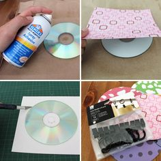 Easy Circular Bunting (Garland)-Simply glue decorative paper or fabric to CDs using spray adhesive. Use a Xacto knife or sharp scissors to cut around the CD so you get a perfect circle. Add letters if you like. Then use curtain clip rings to attach to string or fabric.