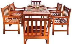 Malibu V98SET12 Eco-Friendly 7 Piece Wood Outdoor Dining Set with Slatted Back Armchairs