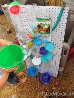 How cool is this #DIY water wall made with recyclables? #Summerfun (Photo by: Share and Remember)