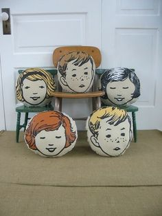 Girl / Boy Head Pillows by Vintage Jane eclectic pillows Cute Pillows, Kids Pillows, Throw Pillows, Eclectic Decorative Pillows, Childrens Room, Pillow Fight, Baby Nursery Decor, Vintage Pillows, Baby Kids