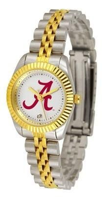 Alabama Crimson Tide UA NCAA Womens 23Kt Gold Watch by SunTime. $134.95. 23kt Gold-Plated Bezel. Women. Officially Licensed Alabama Crimson Tide Women's Two-Tone Executive Watch. Links Make Watch Adjustable. 2-Tone Stainless Steel Band. The ultimate fans statement our Ladies Executive timepiece offers women a classic business-appropriate look. Features a 23kt gold-plated bezel stainless steel case and date function. Secures to your wrist with a two-tone solid stainle...