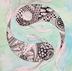 Yin and yang koi fish Zentangle