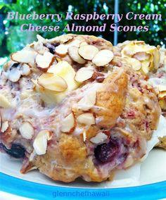Blueberry Raspberry Cream Cheese Almond Scones Recipe: glennchefhawaii.