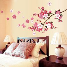 Flowers Removable Wall Stickers Decal Art Vinyl Flower Mural Home Room Decor DIY Removable Wall Stickers, Wall Stickers Murals, Nursery Wall Decals, Vinyl Wall Decals, Vinyl Art, Sticker Vinyl, Sticker Paper, Bedroom Wall Stickers, Sticker Mural