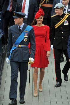 William, Kate & Harry - Alexander McQueen Red Dress Diamond Jubilee 3 June 2012