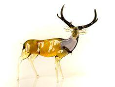 Glas herten beeldje Collectible realistisch Wild dier beeldje Moose beeldhouwwerk Art glas Elk beeldje