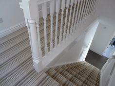 Easy Carpet Design - - - - All Carpet Stairs Grey Striped Carpet, Striped Carpet Stairs, Grey Stair Carpet, Striped Carpets, Hall Carpet, Patterned Carpet, Stairway Carpet, Tartan Stair Carpet, White Hallway