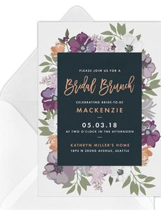 11 Virtual Bridal Shower Invitations That Aren't Tacky | Emmaline Bride Bridal Shower Favors, Bridal Shower Invitations, Birthday Invitations, Invites, Rsvp Online, Invitation Paper, Timeless Wedding, Bride, Florals