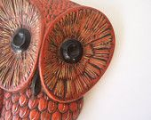 vintage owl wall hanging home decor modern rustic woodland retro owl orange & brown