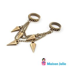 Anel Duplo Chain Spikes R$45.00