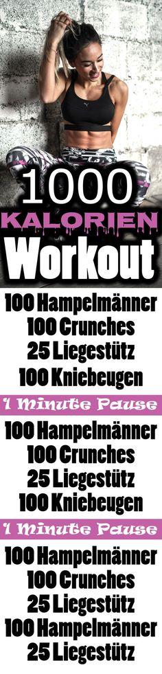 Workout für Zuhause - 1000 Kalorien verbrennen - Bauch Beine Po und Oberkörper trainieren.