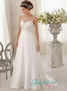 JW14325 sexy sparkles see through illusion chiffon wedding dress