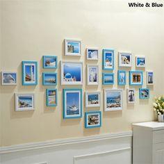 壁掛けフォトフレーム 写真用額縁 フォトデコレーション 木製 地中海風 23個セット 複数枚