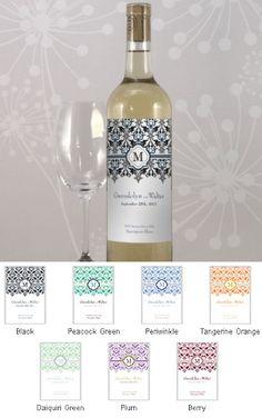 Lavish Monogram Wine Bottle Labels (Set of 8 - 7 Colors) image wine / vino mxm