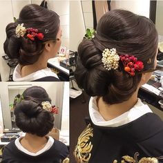"164 Likes, 7 Comments - marina.yamaguchi (@kotonayamari) on Instagram: ""白無垢から黒打掛へ 和装らしい面をだした立体スタイル(*^_^*) 凛としてとても素敵でした お色直しのWDもとても素敵でした(*^_^*) #hair #hairdo #hairstyle…"""