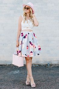 As Seen On Caitlin of Little Dash of Darling blog! Perfectly charming and always in season, the Keepsake Divide Light Grey Floral Print Midi Skirt is everlasting elegance! Bouquets of pink, purple, dark blue, and pale yellow brighten a thick, pale grey fabric from a high fitted waist, to a full midi length. Side seam pockets. Hidden back zipper. Lined in grey satin. 97% Polyester, 3% Elastane. Hand Wash Cold.