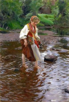 Anders Zorn (Swedish painter, sculptor and printmaker in etching) 1860 - 1920, Flickan från Älvdalen (The Girl from Älvdalen), ca. 1911, oil on canvas, 90.17 × 60.96 cm. (35.5 × 24 in.), not signed by the artist, but inscribed on the back by his wife, Emma, Minneapolis Institute of Arts, Minneapolis, Minnesota, United States