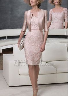 Scoop lace half sleeve Knee-Length Mother Of The Bride dress with satin jacket - 1640562 - Mother of the Bride Dresses