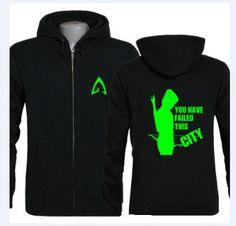 mens Glow in the dark green arrow hoodie zipper