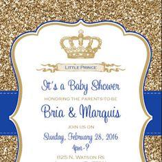 Bebé Ducha Invitación   Príncipe De Corona Azul Y Oro Brillo   DIY Para  Imprimir. Prince CrownPrince Baby ShowersCrown RoyalBaby ...