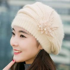 9b9a72f139e11 2016 winter Warm Hat For Women Knitted Wool Floral Gorros Skullies    Beanies Elegant Hats Female