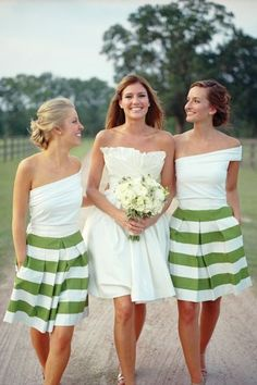 This green and white combo looks fantastic!  Adding pattern to your bridesmaid dresses can make for a fun alternative to the traditional solids. You can find a cute skirt print and allow your girls to wear a nice top  to go with it! This is a neat budget friendly alternative for your girls.