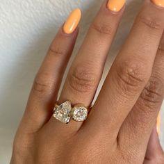 Antique Diamond Toi et Moi Engagement Ring - Marrow Fine Dream Engagement Rings, Alternative Engagement Rings, Bezel Ring, Unique Wedding Bands, Pear Diamond, Unique Rings, Fine Jewelry, Antiques, Bespoke