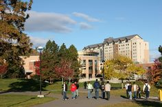 Campus Commons - view of Campus Activity Centre and TRU Residence. Thompson Rivers University, Kamloops, BC