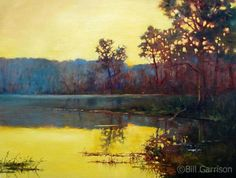 """Relish the dew-kissed landscape in 'Sunrise at City Lake' by Bill Garrison of Arkansas Siloam Springs, Salon Art, Illinois, Sunrise, Art Gallery, My Arts, Fine Art, River, City"