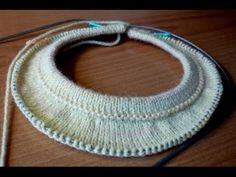 Росток при вязании спицами круглой кокетки сверху вниз