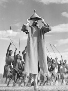 Norman Parkinson Zulu War Dance, British Vogue, 1951.