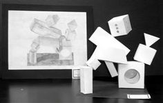 geometric forms sculpture in paper then drawn in pencil