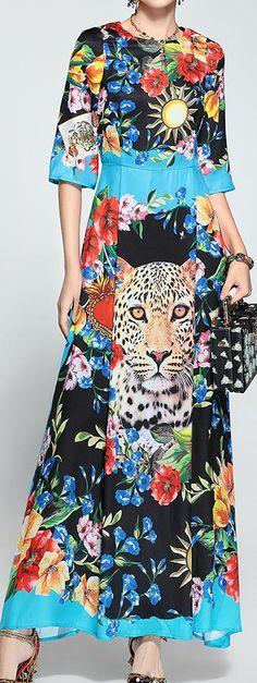 Floral & Cheetah Printed Maxi Dress