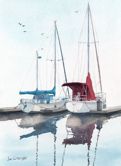 His and Hers Sail Boats  \\  Artist-  Joe Cartwright \ watercolor painting