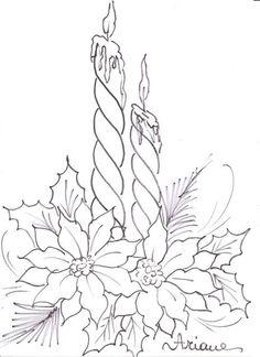 Pintura em Tecido Passo a Passo: Pintura em tecido - Vela e Flor de Natal: