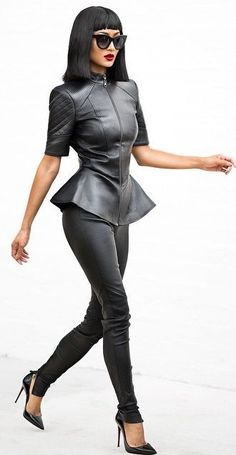 All Black Leather Outfit Idea by Micah Gianneli