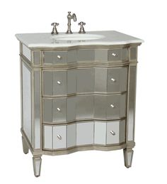 Awesome Websites  inch Bathroom Vanity Mirrored Art Deco Design With Silver Trim Wx